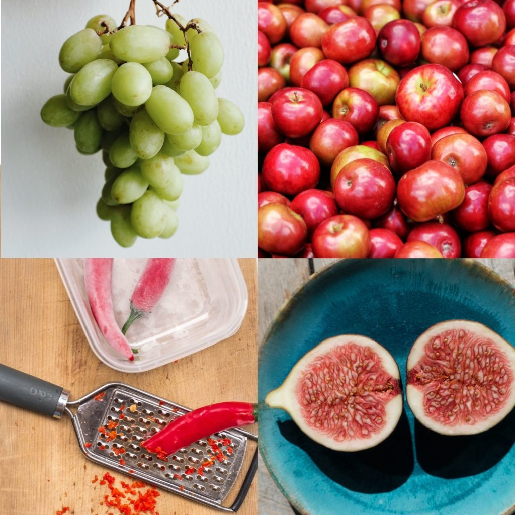 Grapes, apples, figs, chillies